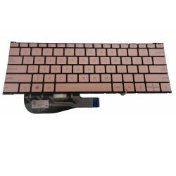 Tastatura Laptop, Asus, ZenBook 3 UX390, UX390UA, UX390UAK, iluminata, us, fara rama, aurie