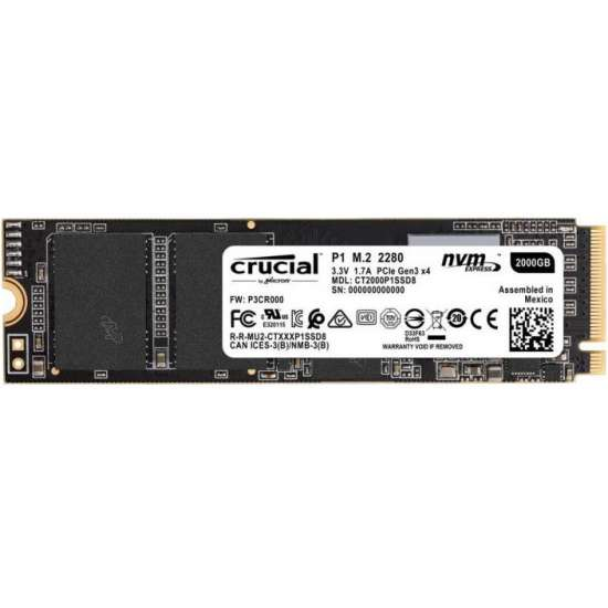 Solid State Drive SSD, Crucial, P1, 1TB, NVMe PCI Express 3.0 x4, M.2 2280, CT1000P1SSD8 SSD