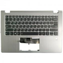 Carcasa superioara cu tastatura iluminata palmrest, Laptop, Lenovo, Yoga 530-14, 530-14ARR, 530-14IKB, argintie