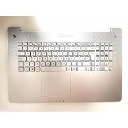 Carcasa superioara cu tastatura iluminata palmrest Laptop, Asus, N750, N750J, N750JK, N750JV, N750JX, N750LF, R750, R750JK, R750JV, iluminata, argintie, layout SK