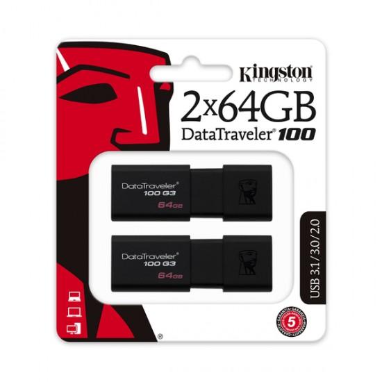 Memorie USB Kingston DataTraveler 100 G3, 2x64GB, USB 3.0